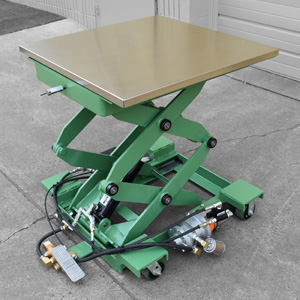 green scissor lift table