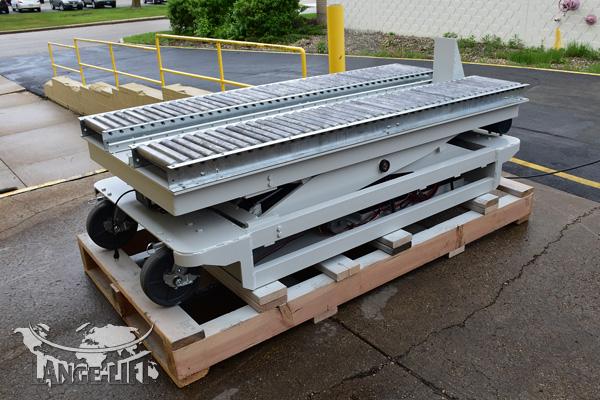 Custom Scissor Lift #34467 - Powered Die Pusher Conveyor | Lange Lift