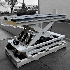 Battery powered hydraulic scissor lift table roller conveyor 34467 thumb