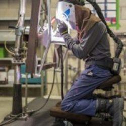 ergonomic workstation in a welding shop